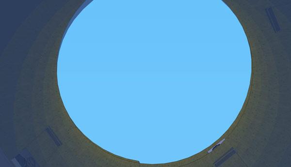 """Vista desde el ojo del """"huracán"""" hacia arriba"""