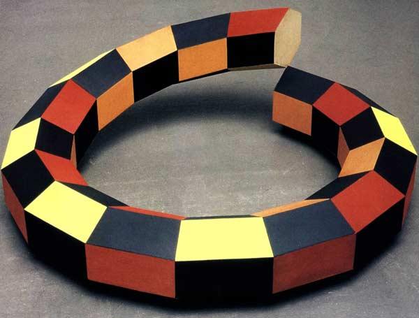 Mazzochio storto - Madera, vinilo  Ø 99 x 16 cm - 2003